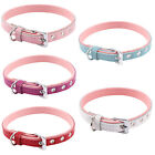 Leather Adjustable Pet Puppy Dog Collars w/ D Ring for Lead Safety S L XL