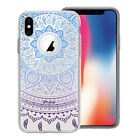 Blue Lilac Mix Mandala Printed Design Clear Gel Case Cover Apple Iphone Models