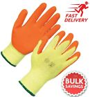 RUBBER LATEX COATED ORANGE SAFETY WORK GLOVES MENS BUILDERS GARDENING