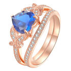 Blue Heart Sapphire 925 Sterling Silver Cz Rose Gold Wedding Engagement Ring Set