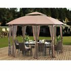 Sunjoy Light Brown 12 x 10 ft. Cardiff Soft-Top Gazebo