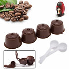 4X Refillable reusable coffee capsules pod for Dolce Gusto machine + 2 Spoons