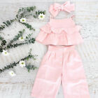 3PCS Kid Baby Girl Ruffle Crop Tops Pants Trousers Outfit Clothes Summer 1-6Y US