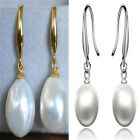 12-10mm White Baroque Pearl Earrings 18K hook CLASP REAL Mesmerizing women Gift