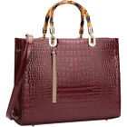 Dasein Wooden Handle Croco Satchel 2 Colors