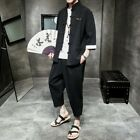 Mens Chinese tunic suit Jackets Pants 2piece Loose Summer Bloomers Cotton Linen