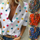 Women Colored Polka Dot Lapel Neck Half Sleeve T-Shirt Casual Tops Blouse Tee