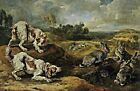 Hunting Dogs & Wild Rabbits by Jan Fyt. Pets Art Repro Prints on Canvas or Paper