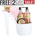 Spa Gift Basket Coconut Fragrance, Luxurious 5 pcs Gift with Bathtub Holder