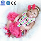 "23"" Beautiful Full Simulation Silicone Baby Girl R eborn Baby Doll in Dress H0Q2"