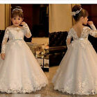 Long Sleeve Lace Flowers Girls Dress for Weddings Girls First Communion Dresses
