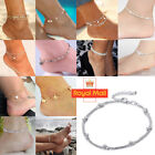 Women Ankle Bracelet 925 Sterling Silver Anklet Foot Chain Beach Beads Jewelry D