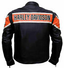 Men's Classic Black Harley HD Victory Lane Motorcycle Real Leather Moto Jacket $99.99 USD on eBay