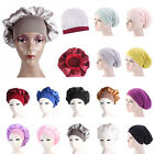Fashion Women Satin Bonnet Cap  Hair Head Cover Wide Band Elastic Hat