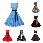 Classy Women's Vintage Rockabilly Swing Dress Ribbon Bow Sleeveless Dress S-XXL