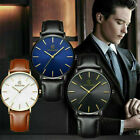 2019 Fashion Men's Leather Band Analog Quartz Round Wrist Watch Business Watch image