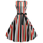 Women Striped Swing Dress Sleeveless Bandage Retro Rockabilly Grown Party Dress