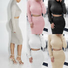 Women Solid Color Long Sleeve Crop Tops Pencil Skirt Knitted Bodycon Outfit Set