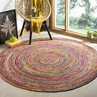 Natural Floor Jute Area Mat Round Dhurrie Indian Braided Hand Crafted Rag Rugs