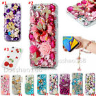 3D Bling Soft TPU Back phone Cover Case & wrist Crystals flowers strap For ASUS