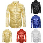 Mens Solid Glitter Sequins Shirts Casual Long Sleeve Button Down Club Party Tops