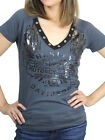 Harley-Davidson Ladies Old Foil Decorative V-Neck Charcoal Short Sleeve T-Shirt $9.99 USD on eBay