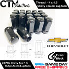 24PC CHEVROLET BLACK CONICAL SEAT 14X1.5 WHEEL LUG NUTS BULGE ACORN FOR CHEVY