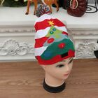Adults Kids Christmas LED Light Up Knitted Hat Soft Warm Santa Claus Beanie Cap