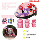 7Pcs Kids Roller Skating Helmet​ Knee Elbow Wrist Pad Protective Gear Set USA image