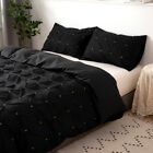 New Soft Duvet Cover Quilt Set Pillowcases Bed Quilted Grid Twin Queen Full King