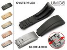For 20 21mm ROLEX OysterFlex Watch Rubber Silicone Strap Band Clasp Buckle Black image