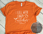 I Roll with Witches Halloween Graphic Short Sleeve Printed T Shirt Tee Tshirt