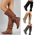 Womens Casual Slouch Plain Mid Calf Boots Knee High Round Toe Flat Heel Shoes