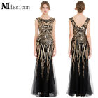 Missicon Women's Sequin Tulle Mermaid Gold Black Flapper Party Dress 377