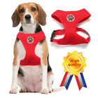 Dog Puppy Soft Mesh Harness Adjustable - Paw Design - 3 Sizes  XS S M,Red