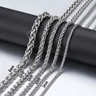 3/4/5/6/8mm Braided Wheat Spiga Link Chain Silver Stainless Steel Men Necklace