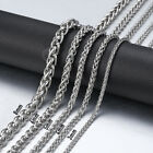 3/4/5/6/8mm Braided Wheat Spiga Link Chain Silver Stainless Steel Men Necklace image