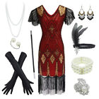 1920s Women's Gatsby Inspired Sequin Beads Long Fringe Flapper Dress w/Costume