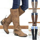 Women Lady Over Knee Boots Shoes Round Head Fastened Frenulum Square Heels Boots