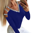 Womens Long Sleeve Loose T-Shirt Hollow Out Sequin Ladies Casual Blouse Tops Tee