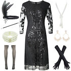 1920s Womens Flapper Sequin Beads Plus Dress with Roaring Gatsby Accessories Set