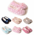 Women's Furry Textured Slippers Sherpa Fleece Lined Non Slip Traction Satin Bow