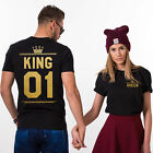 King Queen Letter Print T-Shirt Couple Short Sleeve Loose Neck Camisetas Mujer