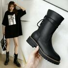 Womens Fashion Round Toe Lace Up Block Low Heels Ankle Boots Knight Boots C496