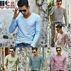 Men's Fashion Slim Fit V Neck Long Sleeve Muscle Tee T-shirt Casual Tops Blouse image