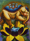 Elephant Lotus Marcos Villagran Unframed Rolled Canvas or Paper Wall Art Print