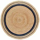 Jute Area Mat Round Carpet Hand Crafted Dhurrie Braided Natural Floor Rag Rugs