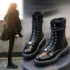 Womens Fashion Punk Buckle Strap Lace Up Chunky Low Heels Boots Motorcycle Shoes