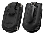 Universal Fit Medium Cellet Black Leather Case With The Pouch/Swivel Belt Clip