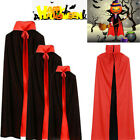 Black Red Stand Collar Vampire Devil Robe Cloak Cape Halloween Party Polyester